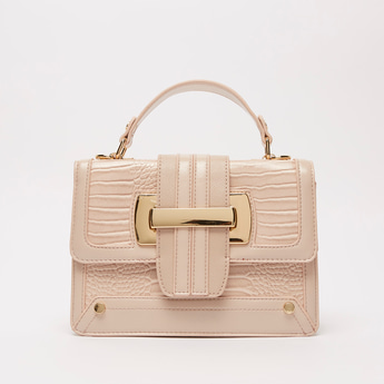 Textured Satchel Bag with Magnetic Snap Closure and Detachable Strap