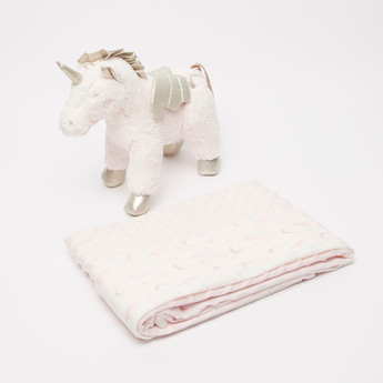 Textured Blanket with Unicorn Plush Toy - 100x75 cms