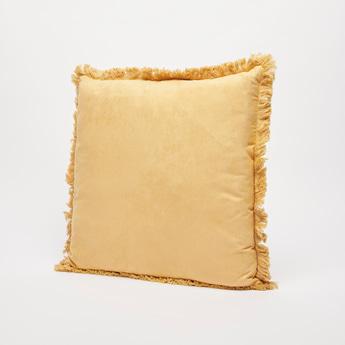 وسادة محشوة سادة مزيّنة بشراشيب - 45x45 سم