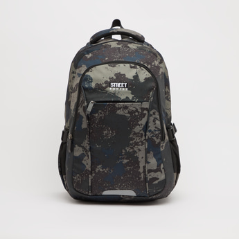 Printed Backpack with Adjustable Straps and Zip Closure - 18.50 Inches