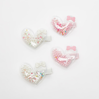 Set of 4 - Heart Applique Detail Hair Clips