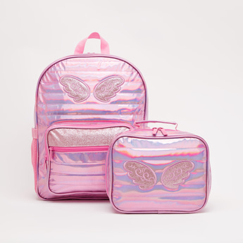 Glitter Detail Backpack with Lunch Bag - 15.70 Inches