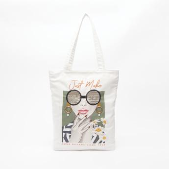Sequin Detail Printed Tote Bag