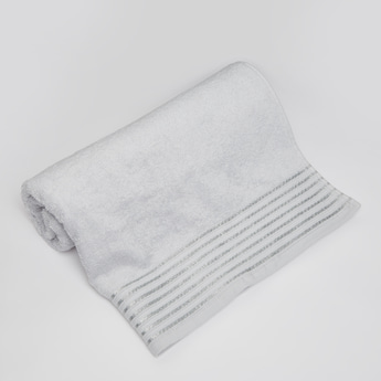 Textured Bath Towel with Glitter Stripes - 140x70 cms