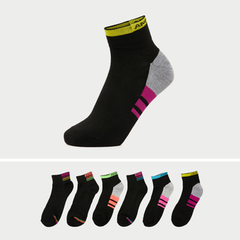 Pack of 6 - Printed Ankle Length Socks with Stripe Detail