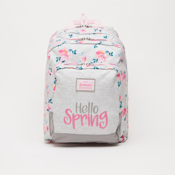 Floral Print Backpack with Adjustable Shoulder Straps - 16 Inches
