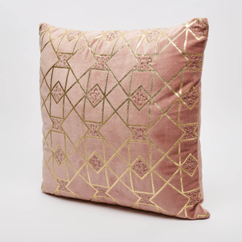 Embellished Detail Filled Cushion with Zip Closure - 45x45 cms