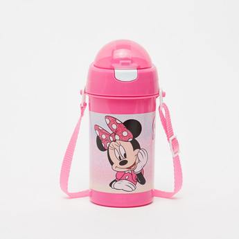 Minnie Mouse Print Water Bottle with Adjustable Strap - 500 ml