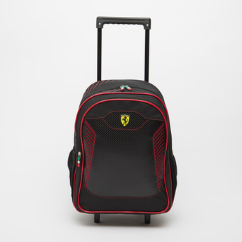 Ferrari Textured Trolley Backpack with Retractable Handle - 18 Inches