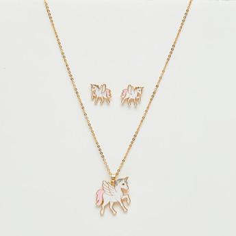 طقم مجوهرات بتصميم يونيكورن من 3 قطع