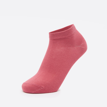Set of 3 - Solid Ankle Length Socks with Cuffed Hem