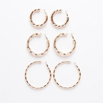 Set of 3 - Textured Hoop Earrings with Hinged Hoop