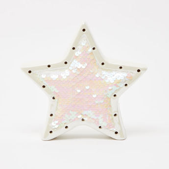 Sequin Detail Star Shaped LED Decor Piece