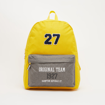 Printed Backpack with Adjustable Straps and Zip Closure - 15.50 Inches