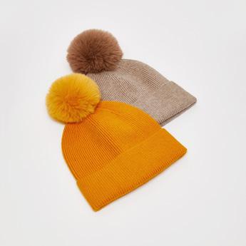 قبعة بيني بارزة الملمس مزيّنة بتفاصيل بوم بوم - طقم من 2 قطعتين