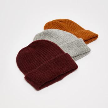 قبعة كاب بيني بارزة الملمس بأطراف مطاطية - طقم من 3 قطع