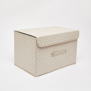 Heart Print Storage Box with Lid - 38x25x25 cms