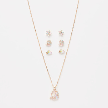Gold Finish Necklace with Pendant and Earrings Set