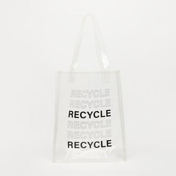 Printed Fabric Handbag with Double Handles