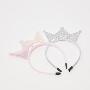 Set of 2 - Crown Applique Detail Hair Band