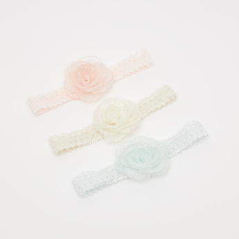 Set of 3 - Flower Applique Detail Headband