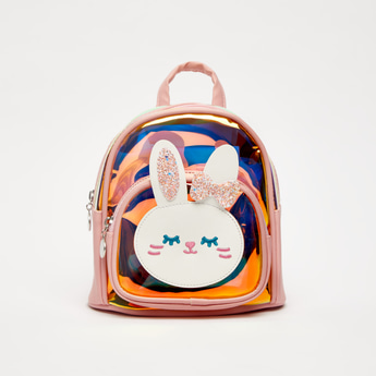 Holographic Backpack with Bunny Applique