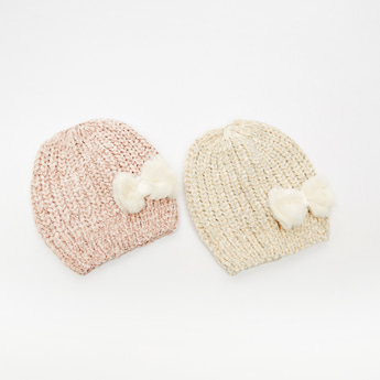 Set of 2 - Textured Beanie Cap with Bow Accent