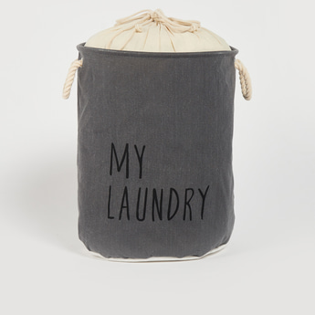 Text Print Laundry Basket with Drawstring Closure - 49x38 cms