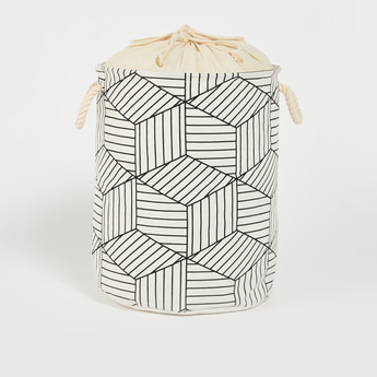 Printed Laundry Basket with Drawstring Closure - 49x38 cms