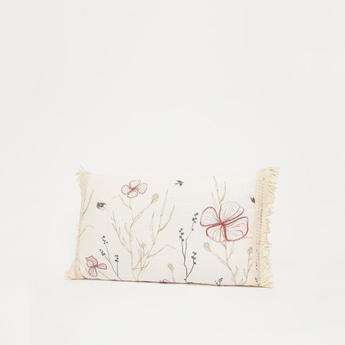Floral Print Filled Cushion with Tassel Lace Detail - 50x30 cms