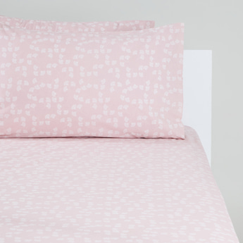 Floral Print Single Fitted Sheet with 2 Pillow Covers - 200x90x25 cms