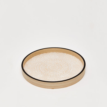 Mandala Print Round Wooden Tray with Contrast Rim