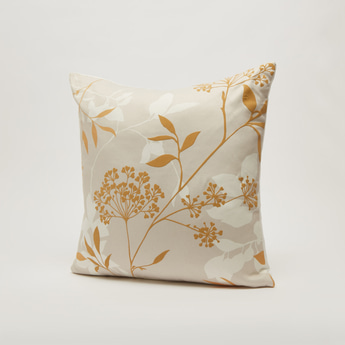 Floral Print Filled Cushion with Zip Closure - 45x45 cms
