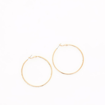 Studded Dangling Earrings with Hinged Hoop