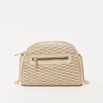 Textured Crossbody Bag with Zip Closure