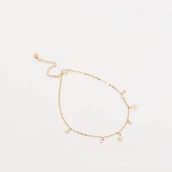 Stone Studded Anklet with Star Charms