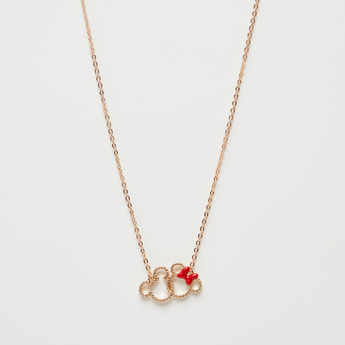 Mickey and Minnie Mouse Pendant Long Necklace with Spring Ring Closure