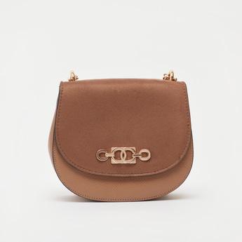 Textured Crossbody Bag with Metallic Chain Strap