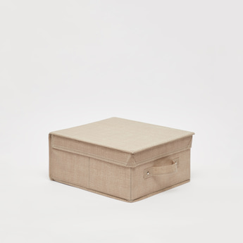 Textured Storage Box with Handle - 28x33x15 cms