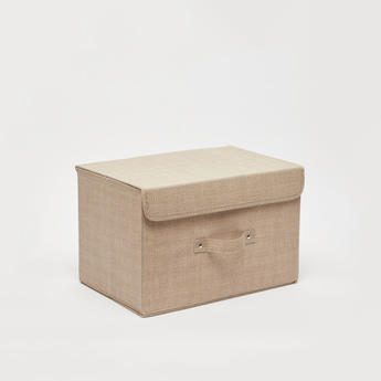 Textured Storage Box with Handle - 38x25x25 cms