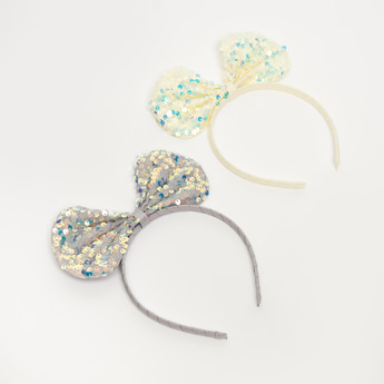 Set of 2 - Sequin Embellished Hairband with Bow Accent