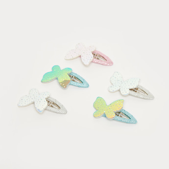 Set of 5 - Glitter Detail Hair Clip with Butterfly Accent