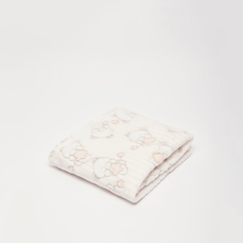 Textured and Printed Plush Detail Blanket - 75x100 cms