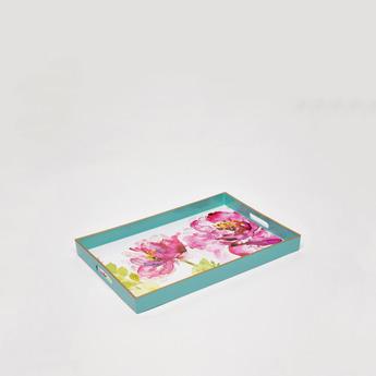 صينية تقديم بمقابض مفرغة وطبعات أزهار
