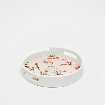 Floral Print Round Serving Tray with Cutout Handles