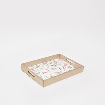 Floral Print Wooden Serving Tray with Cutout Handles