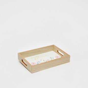 صينية خشبية مستطيلة بطبعات - 30x20x5 سم