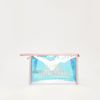 Slogan Print See Through Pouch with Zipper Closure