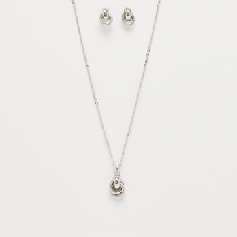 Metallic Pendant Necklace and Earrings Set