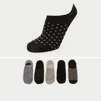 Pack of 5 - Printed Invisible Socks with Elasticised Hem